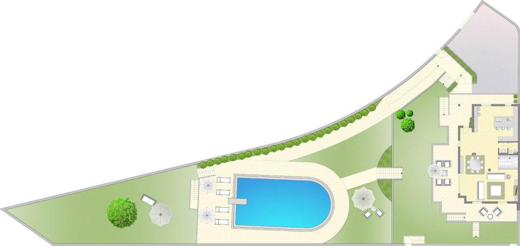 Esclusiva villa su pi piani con piscina in vendita a s for Progetta i tuoi piani di garage gratis
